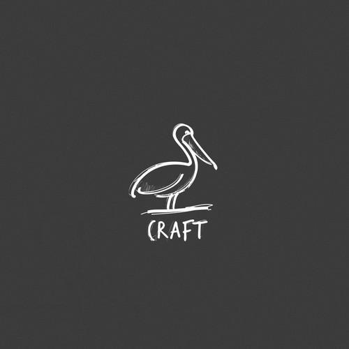 hand drawn pelican logo