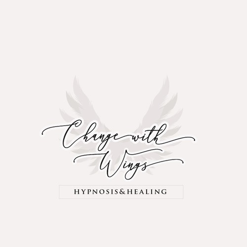 """Logo with angel wings for """"Change with wings - hypnosis and healing"""""""