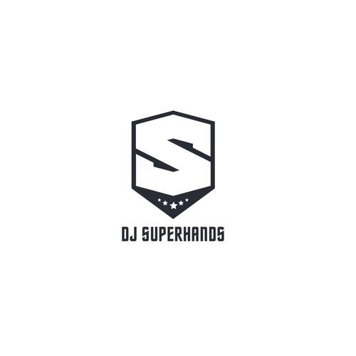 DJ superhero logo