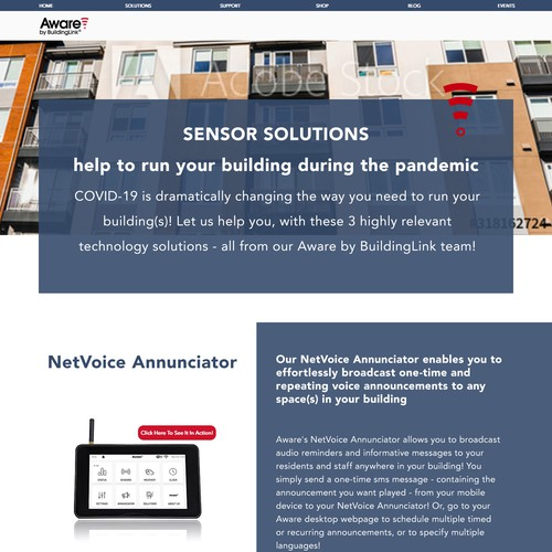 Tech Landing Page for COVID Solutions