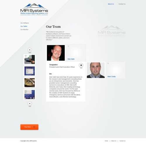 Website design for MIR Systems
