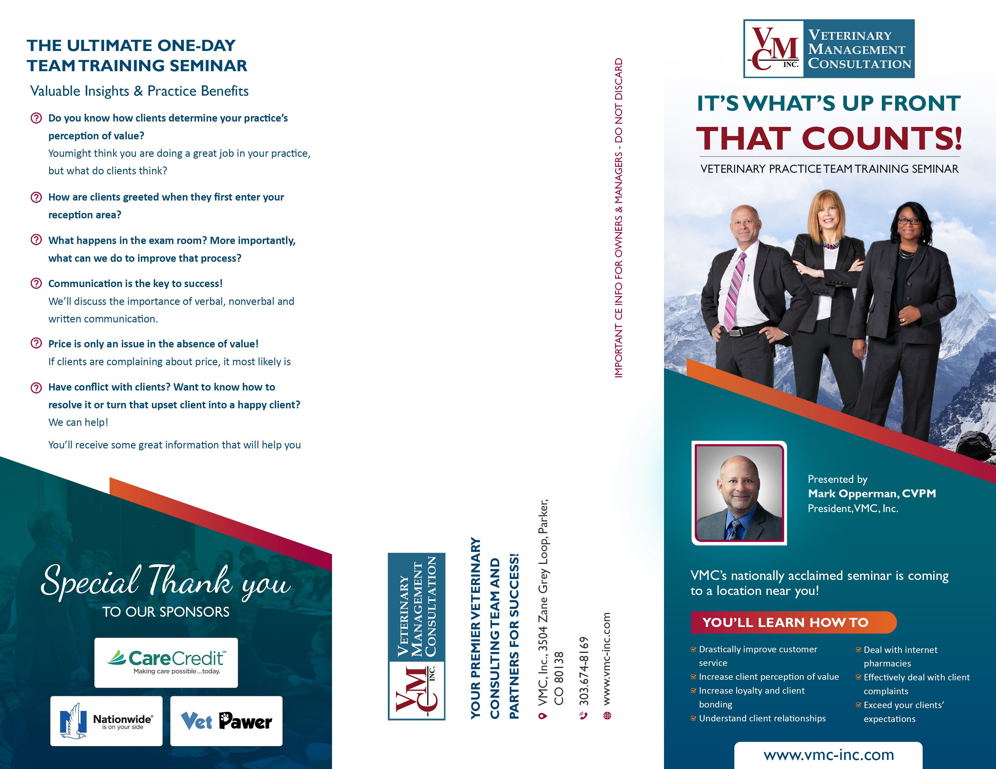 It's What's Up Front That Counts Trifold Brochure