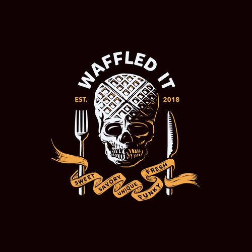 "color exploration on the logo design concept for ""waffled it""."