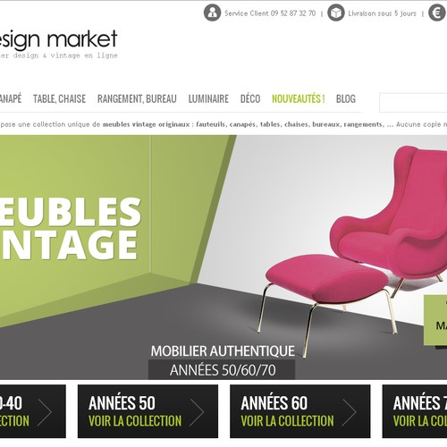 3 Bannières pour site de meubles Design Vintage