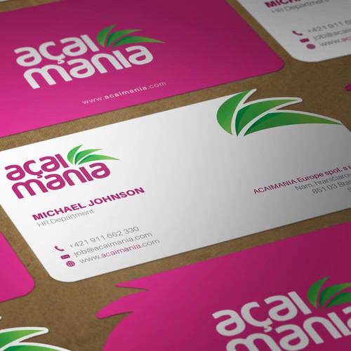 Business card for acaimania