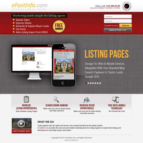 Create a winning web site design for eFastinfo.com