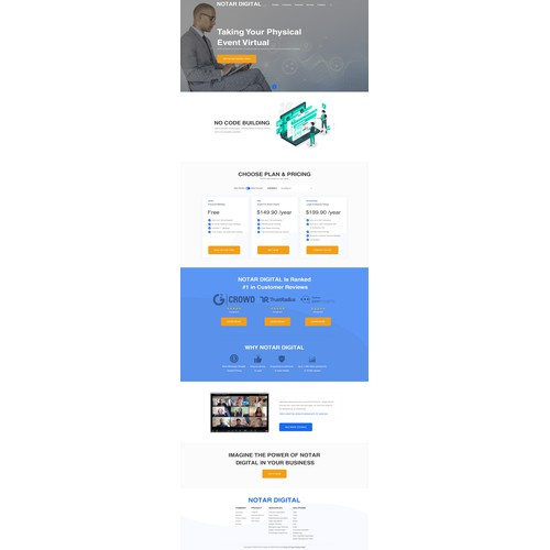 Landing page for a dedicated video-call SaaS product for notaries public
