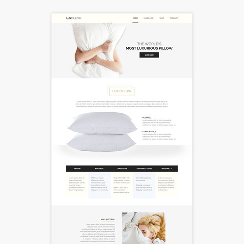 Elegant Lux Pillow Homepage