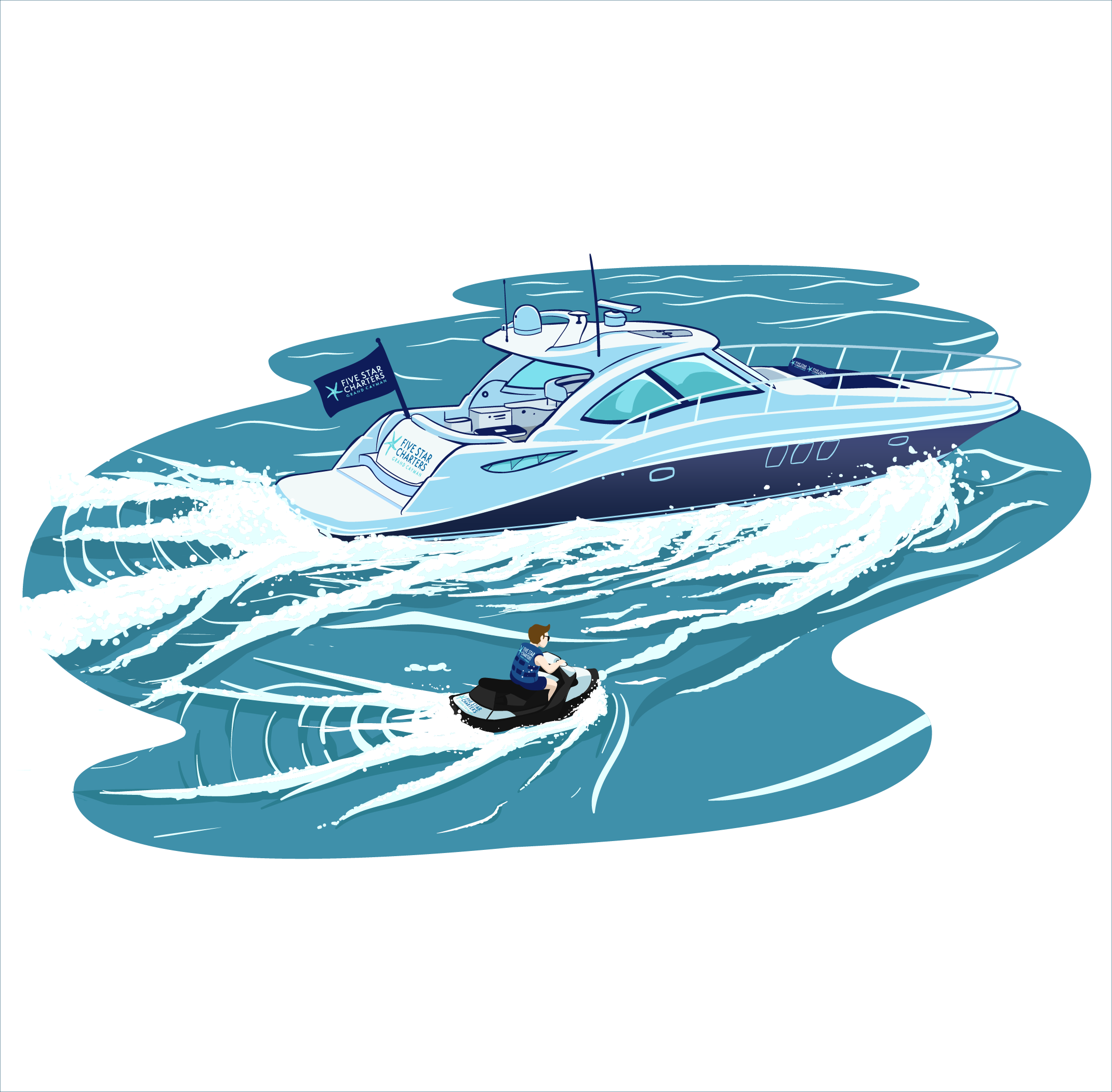 Create a bold illustration of a yacht for a luxury charter business