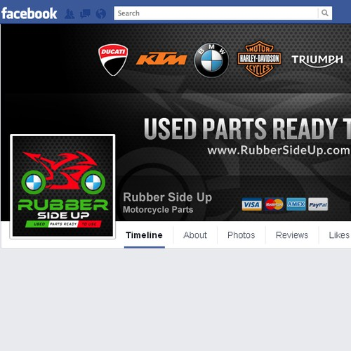 Create Facebook Cover for Online Motorcycle Parts Company