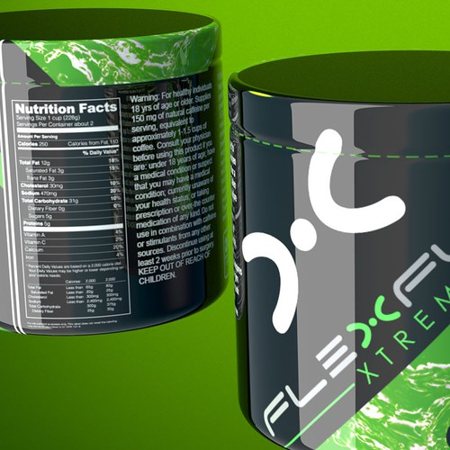 Create a new generation Product label for a pre-workout powder mix drink