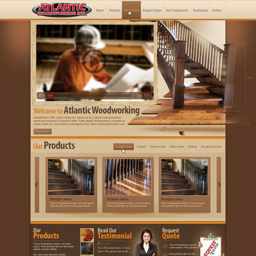 """The Website we need designed is for a company by the name of """"Atlantic Woodworking"""" they need a new website designed!"""
