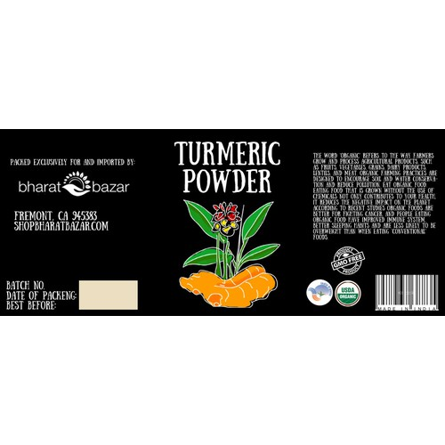 Turmeric Powder label