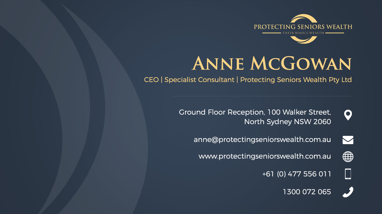 Quote for a Business Card design for Anne McGowan CEO of Protecting Seniors Wealth
