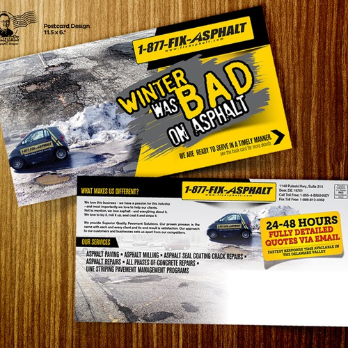 Post card for asphalt & concrete company