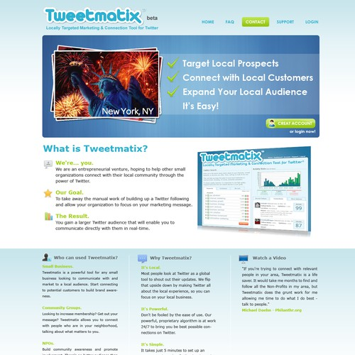 Fresh Look for Tweetmatix.com (Home Page and theme)