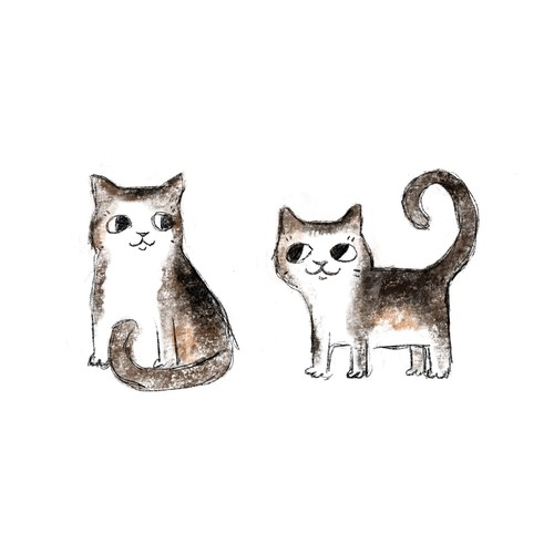 Farm cat illustration (from real photo)