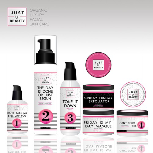 Logo, labels and packaging for unique skin care line