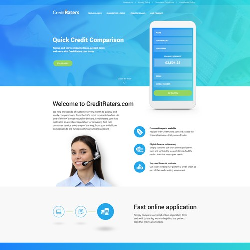 Landing page for credit rating app