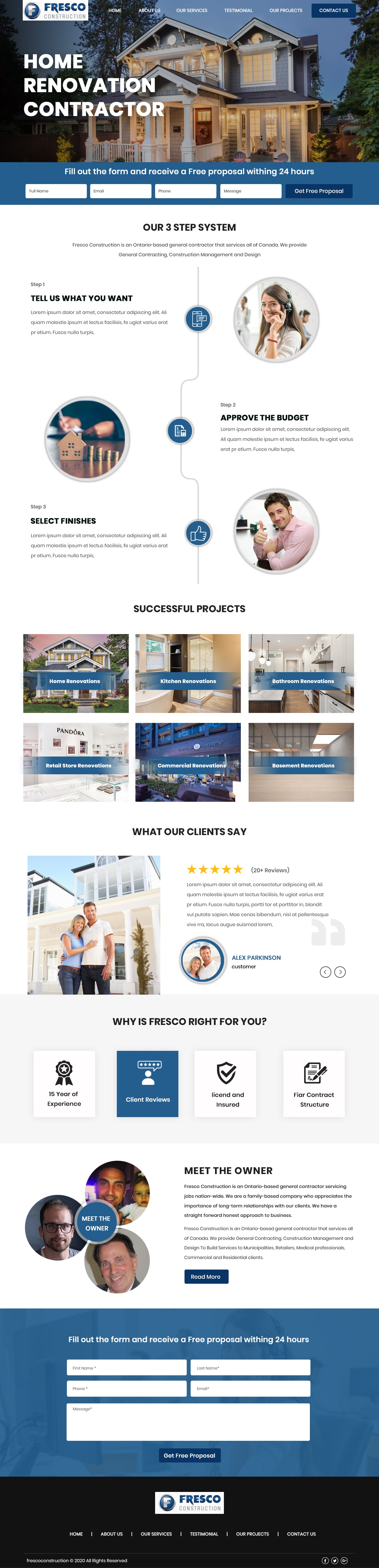 Landing Page for Home Renovation Contractor