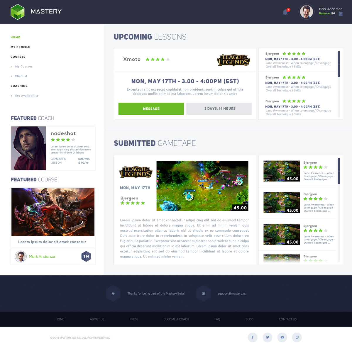 Redesign Coach Homepage for Mastery.gg