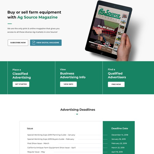 Website Design for Agriculture Magazine.