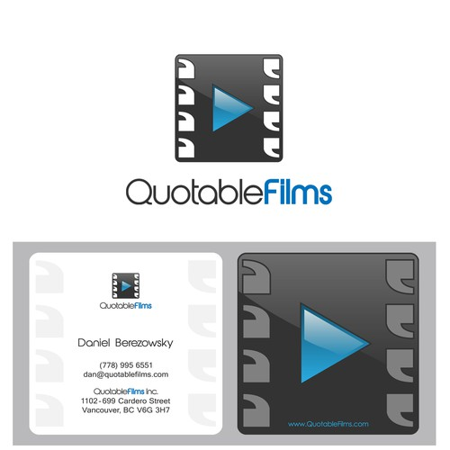 Create the next logo and business card for Quotable Films