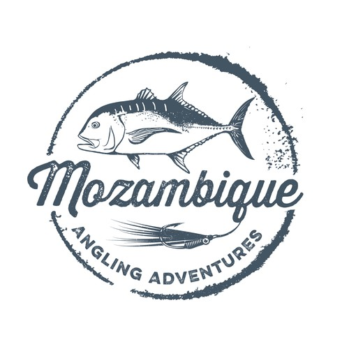 Create a rubberstamp logo for Mozambique Angling Advetures