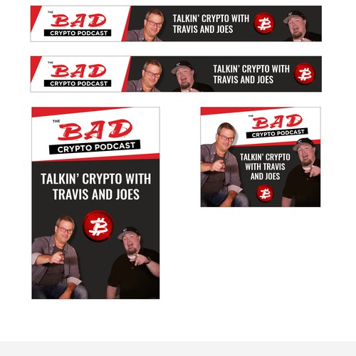 Designer banner ads for the Bad Crypto Podcast