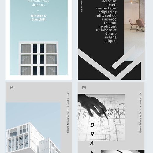Social media page designs for an elite architecture firm