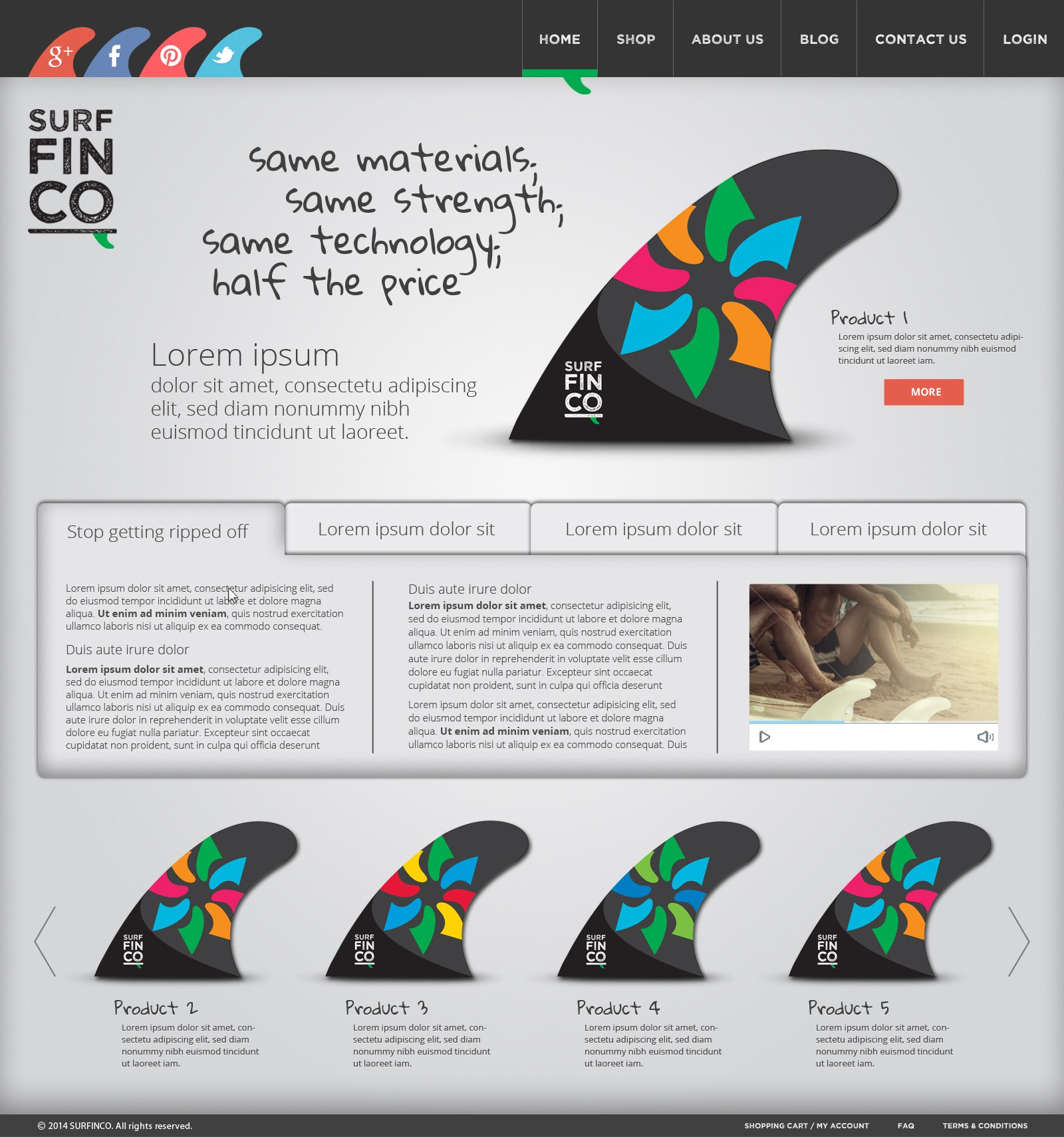 Design a website for an exciting new surf company