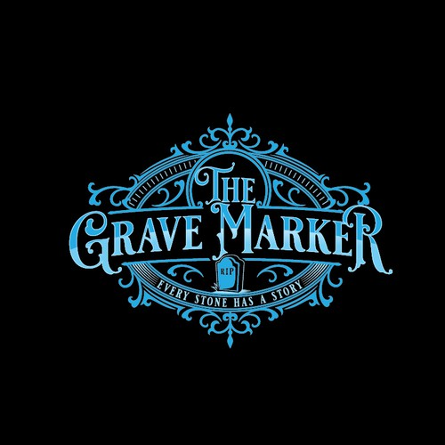 Vintage grave researcher logo