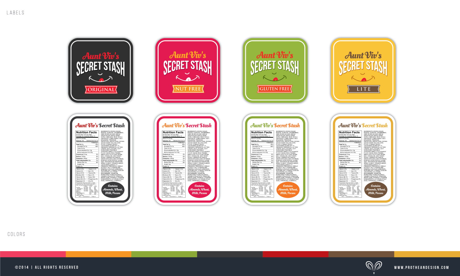 Create an eye catching logo/label/package for Aunt Viv's Secret Stash (snack mix)