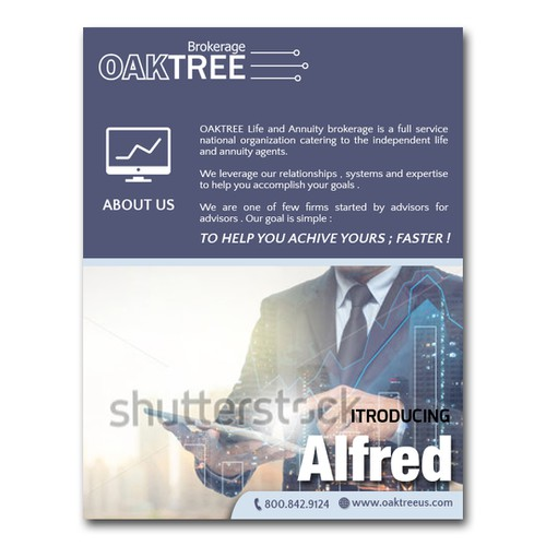 A sophisticated brochure for insurance agents and investment advisors.