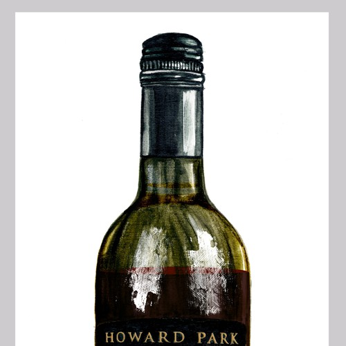 Vintage photorealistic illustration of a bottle for a wine company