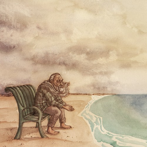 OLD MAN on a GREEN BENCH looking out at THE SEA
