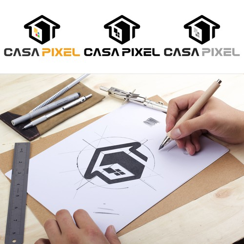 Design a powerful and clean logo for Casapixel, a Motion/2d/3d animation studio