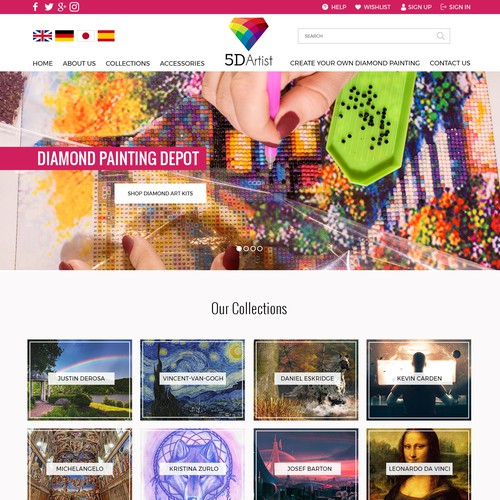 Homepage Design for 5dartist - Diamond Painting Depot