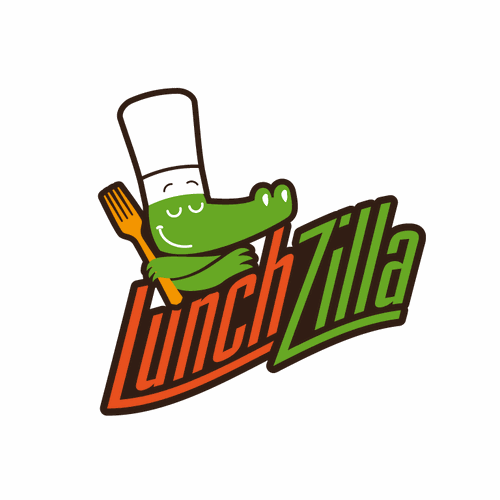 Reptile illustration logo for Lunchzilla