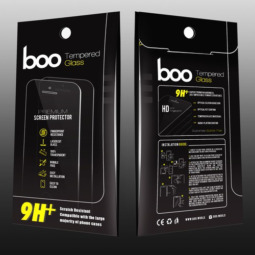 Tempered Glass Envelope Packaging Design