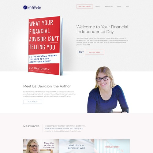 Elegant website design for finacial guide book