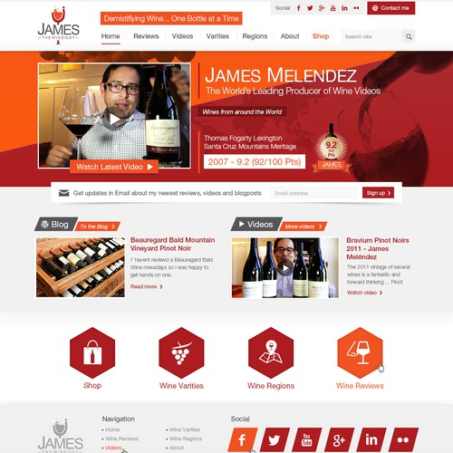 website design for James the Wine Guy