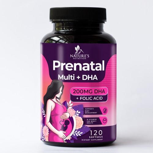 Prenatal multi + DHA softgels dietary supplement label design