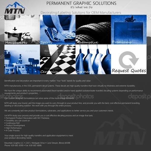 landing page for Mountain Graphix, LLC