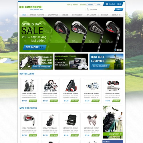 Create the next website design for Golf Games Support
