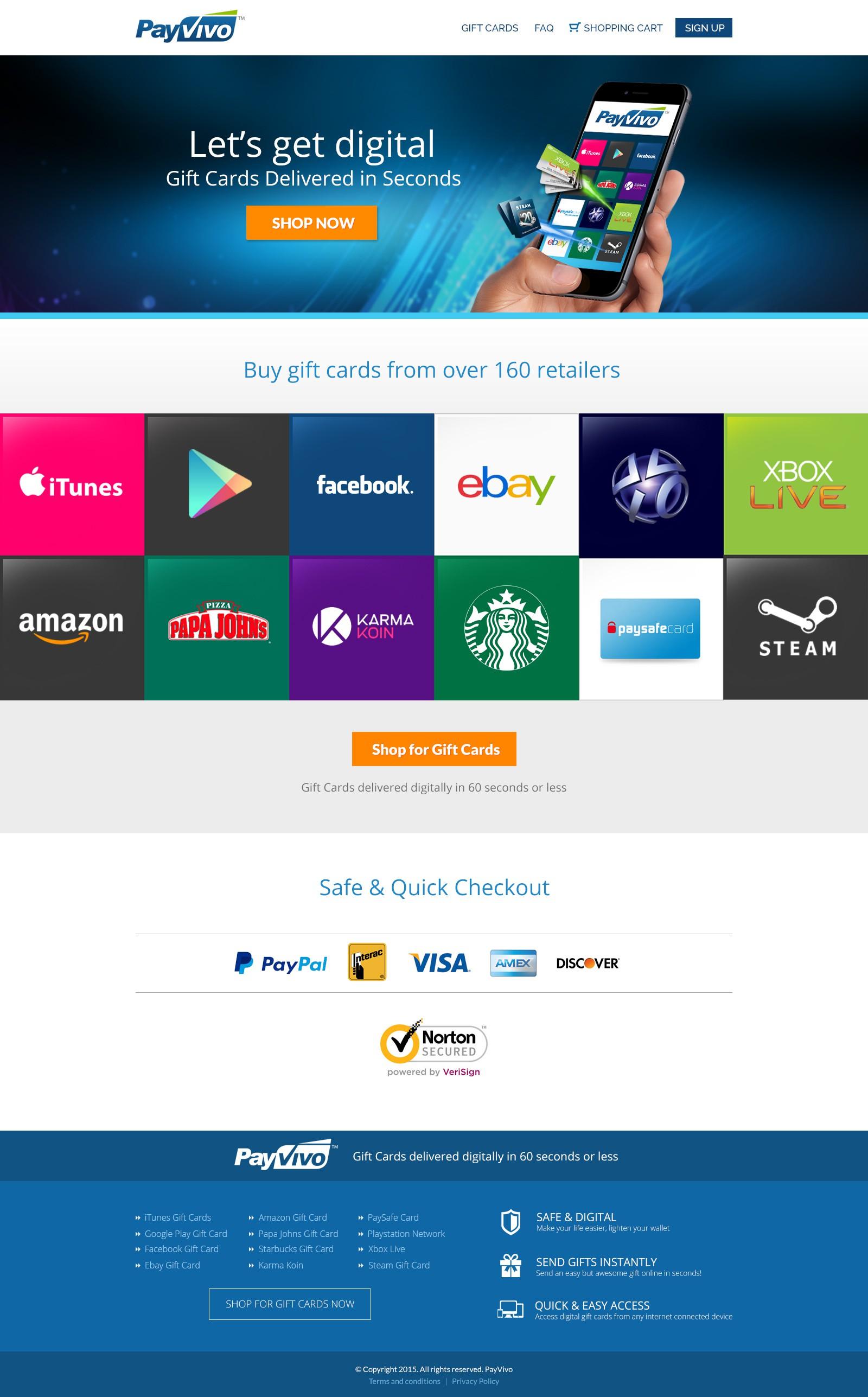 PayVivo,  $3000 Guaranteed,  Digital Gift Card Site