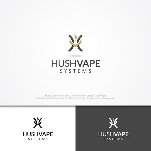 logo concept for hushvape, distributor vapor