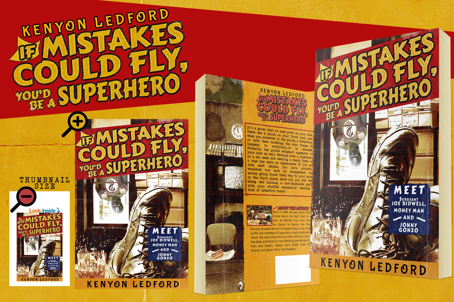 Create a captivating cover for an Ebook about looser PI's, moronic cops, and a superhero pickpocket