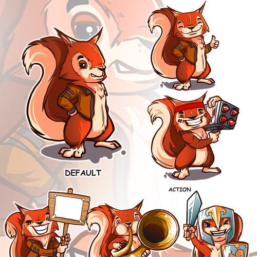 Create a cartoon red squirrel mascot for a PC game retailer