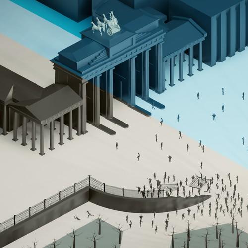 Isometric 3D Brandenburg Gate